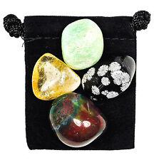 DEVELOP PATIENCE Tumbled Crystal Healing Set = 4 Stones + Pouch + Description