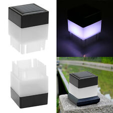 Outdoor Solar Powered Fence Post Pool LED Square White Light Garden Pathway Lamp