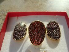 Granat Ring und Ohrringe mit echten Granaten und Zertifikat Schmuck
