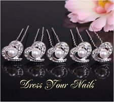 Hair Pin Hair Accessory Cech Crystal & Alloy Hearts Hairpin x 5- uk  HP-0084