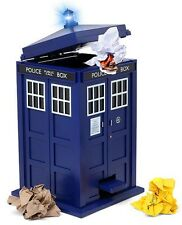 Doctor Who Tardis Waste Basket Flip top Trash Can Bin Light Sound Effects Dr New