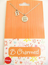 "NEW B Charmed ""B Your Best"" Sterling Silver Pendant Necklace"