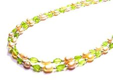 Fancy 2 Strand 925 Sterling Silver 105cttw Faceted Peridot & Pearl Necklace F7