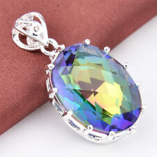 High Quality Factory Price Oval Cut Rainbow Mystic Ropaz Silver Necklace Pendant