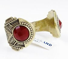 LUCKY BRAND Red Faceted Stone Gold-Tone Open Cuff Bracelet $65