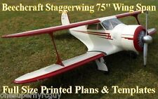 """D17 Staggerwing 1/5 Scale 75"""" WS RC Airplane Full Size PRINTED Plans & Templates"""