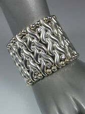 Unusual Matte Silver 'Plaited' S Wide Stretch Bangle Cuff w/ Swarovski Crystals