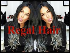 "20""HUMAN WEAVE 100G #1/GREY BEAUTIFUL INDIAN REMY WEFT HAIR UK SELLER 5A GRADE"