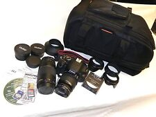 Canon EOS Rebel T3i 18MP Digital Camera Bundle 4 Lenses Bag Used Once Excellent