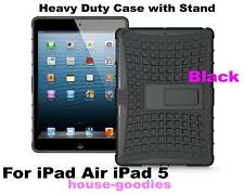 Black Durable Heavy Duty Strong Tradesman Hard TPU Case Cover Stand for iPad Air