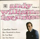 "ANDY WILLIAMS favourites volume 2 4 track ep EP 6055 uk cbs 7"" PS EX/EX"