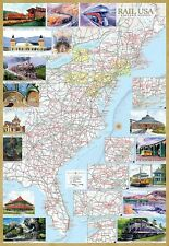 Rail U. S. A. Museums & Trips Eastern States Illustrated Map  Laminated Poster