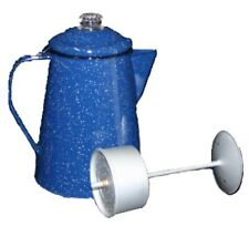 Enamelware Coffee Pot 12 Cup Percolator Blue Speckled