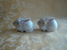 Pair of VINTAGE MULTICOLORED CLOISONNE BUNNY RABBIT FIGURINES~ White