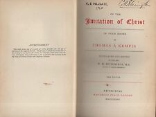 """THOMAS A'KEMPIS - """"OF THE IMITATION OF CHRIST"""" - TRANSLATED BY .HUTCHINGS (1887)"""