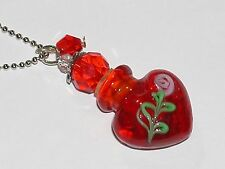 1 Murano Red w/ Pink rose Heart Glass essential oil perfume ashes bottle cork