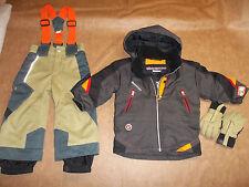 OBERMEYER SKI SNOW SUIT JACKET SET PANTS BIBS SUSPENDERS GLOVES HOOD BOY'S 3