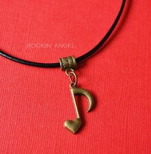 Vintage Bronze Heart Music Note Leather NecklaceLadies Men Girls Gift Musician