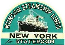 Munson Steamship  NEW YORK   Vintage-Style   Travel Sticker/Decal/Baggage Label