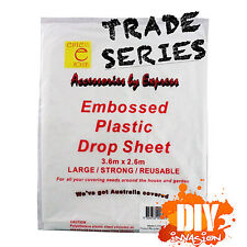 Paint Drop Sheet Dust Cover 2.6x3.6m Embossed Clear Plastic Protection Reusable
