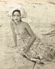1950's Vintage Female Nude Asian Malaysian Girl John Everard Photo Gravure Print