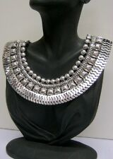 SILVER STATEMENT COLLAR GRECIAN GODDESS CHUNKY VINTAGE STYLE EGYPTIAN NECKLACE