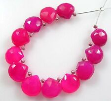 12 FUSCHIA HOT PINK CHALCEDONY FACETED HEART BRIOLETTE BEADS 8-9 mm C62