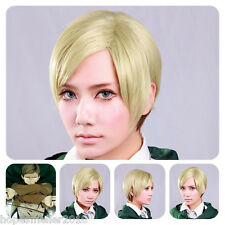 Short Gold Pale Green Attack on Titan Straight Hair Erwin Smith Cosplay Full Wig