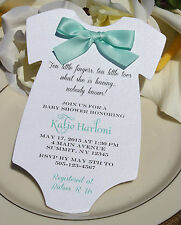 Baby Shower Invitation for Boy or Girl in Shape of Onesie with Aqua Satin Bow!