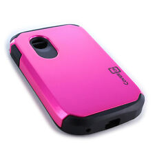 For LG 306G Tracfone Case - Rose Pink/Black Slim Rugged Armor Phone Cover