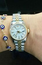 LADIES ROLEX OYSTER PERPETUAL DATE 18K YELLOW GOLD & STEEL! WHITE ROMAN DIAL WAT