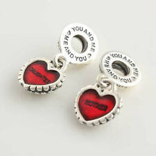 MOTHER/DAUGHTER Red Enamel .925 Sterling Silver European Charm Bead M4