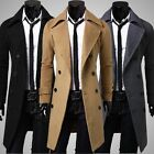 2015 Winter  Mens Slim Stylish Trench Coat Double Breasted Long Jacket