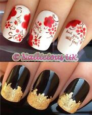 NAIL ART SET #202 ANGELS KISS FLOWERS WATER TRANSFERS/DECAL/STICKERS & GOLD LEAF
