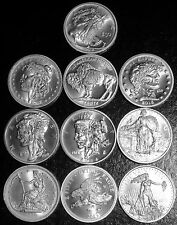 COMPLETE SET OF ALL 10 ZOMBUCKS .999 SILVER ROUNDS -BULLION OF THE APOCALYPSE!!