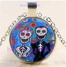 Sugar Skull Wedding Cabochon Glass Dome Silver Chain Pendant Necklace