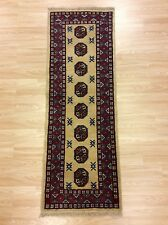 Handmade Afghan Genuine Bokhara Beige Red Wool Rug Runner 50x150cm 2x5 60% OFF