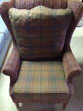 Large Wicker Chair with Plaid Cushions