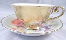 Occupied Japan Hand Painted Cup & Saucer Golden Rose Flowers Gold Exterior