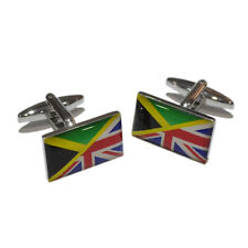 Union Jack UK British & Jamaica Jamaican Joined Flag CUFFLINKS Present GIFT BOX