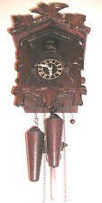Traditional German 2 Weights Driven Movement Carved Wood Case Cuckoo Clock