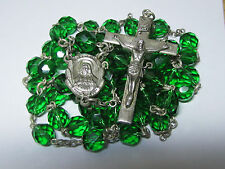 "† HTF HUGE VINTAGE CREED STERLING CAPPED GREEN HEAVY ROSARY NECKLACE 32 1/2""  †"