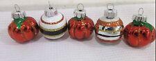 Halloween Thanksgiving MINI (5) Mini Glass Pumpkin Ball Ornaments Decorations