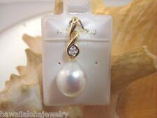 14k Yellow Gold Twist Cultured South Seas White Pearl 0.02Cts Diamond Pendant #1