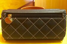 RELIC by Fossil Berkley Collection Trifold Checkbook Wallet BLACK New!