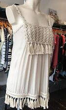 TWIN SET SIMONA BARBIERI NUDE BEIGE MACRAME FRINGED TUNIC TOP XS,M or L £149
