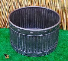 Garden Planter Metal Tub Round Zinc Ribbed Medium Pot Patio New