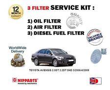 Para Toyota Avensis 2.0 Dt 2.2 Dt D4d 5/2006 -6 / 2009 Aceite Aire Filtro De Combustible Kit De Servicio