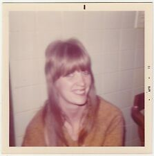 Square Vintage 70s PHOTO Soft Focus Young Woman Girl w/ Long Shag Hairdo