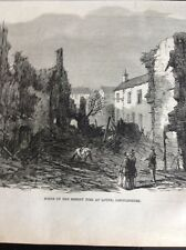 J1-6 Ephemera 1863 Folded Picture Scene Of The Recent Fire Louth Lincolnshire